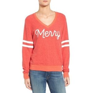 Wildfox Merry Red V-Neck Pullover Sweater